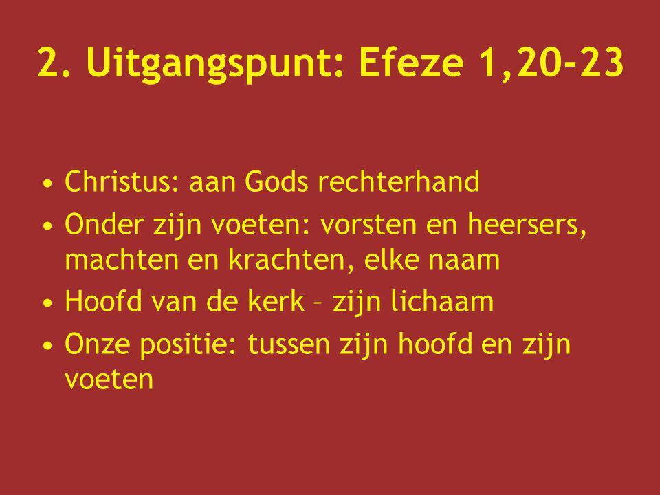 2. Uitgangspunt: Efeze 1,20-23 Christus: aan Gods rechterhand Onder zijn voeten: vorsten en heersers, machten en krachten, elke naam Hoofd van de kerk
