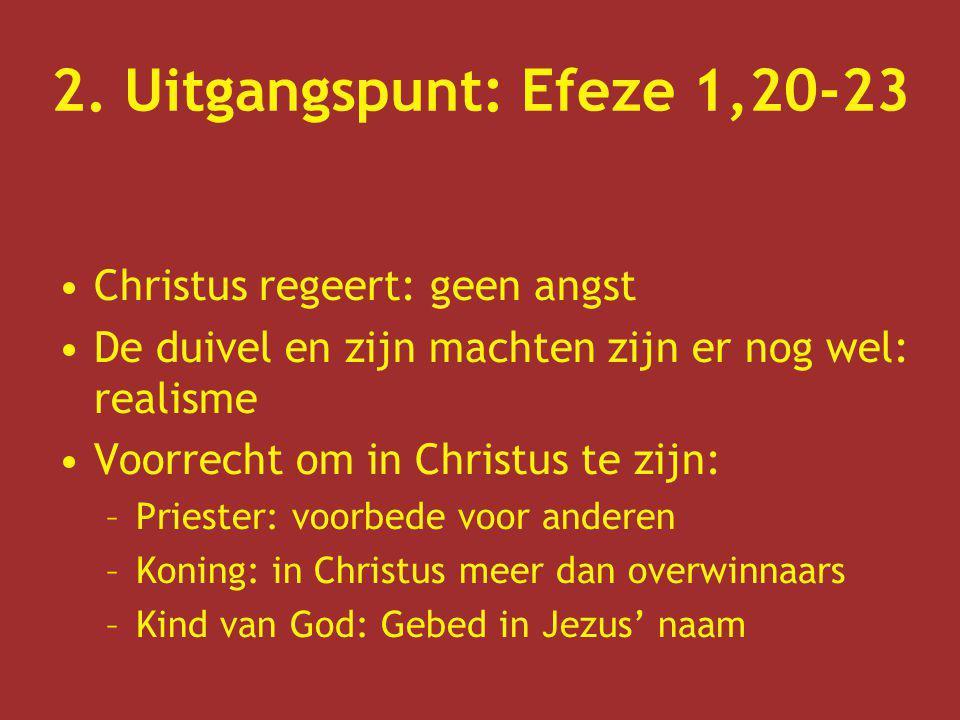 2. Uitgangspunt: Efeze 1,20-23 Christus regeert: geen angst De duivel en zijn machten zijn er nog wel: realisme Voorrecht om in Christus te zijn: –Pri