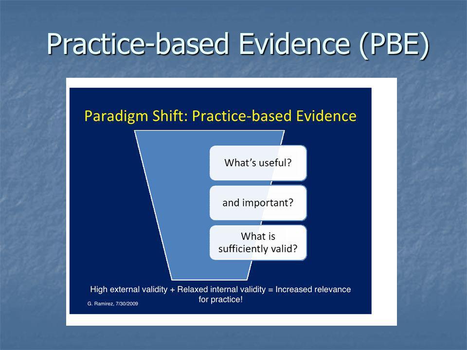 Practice-based Evidence (PBE) Practice-based Evidence (PBE)