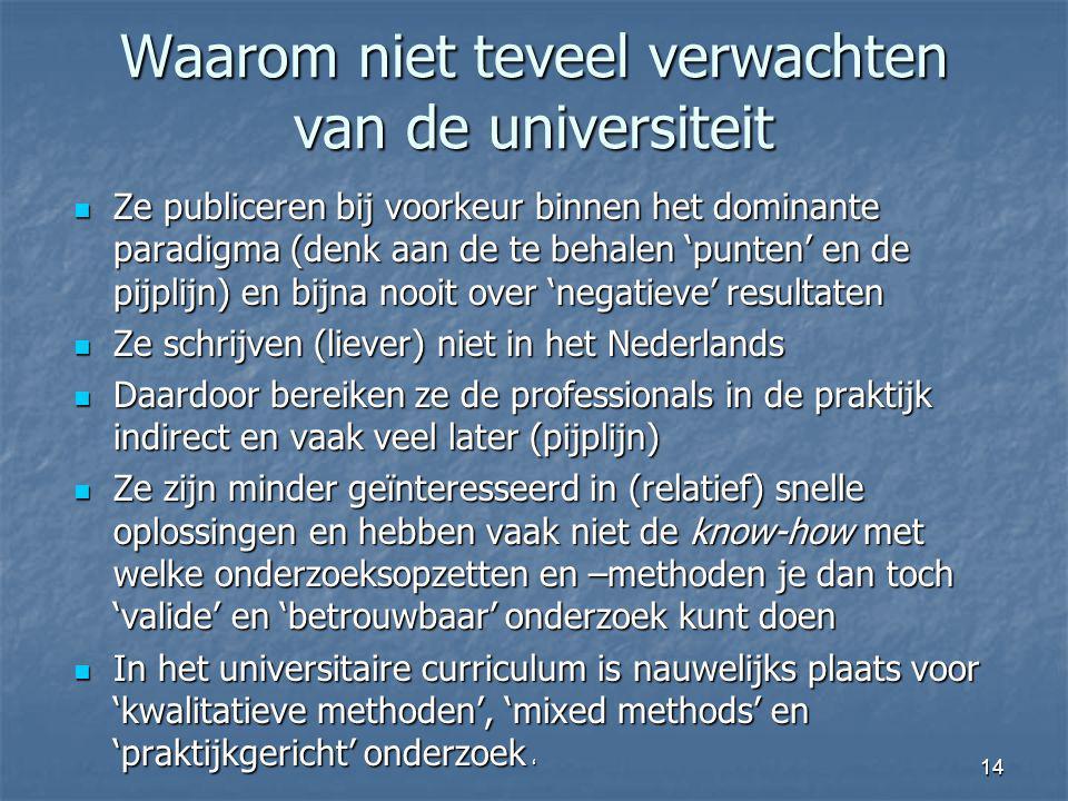 Waarom niet teveel verwachten van de universiteit Ze publiceren bij voorkeur binnen het dominante paradigma (denk aan de te behalen 'punten' en de pij