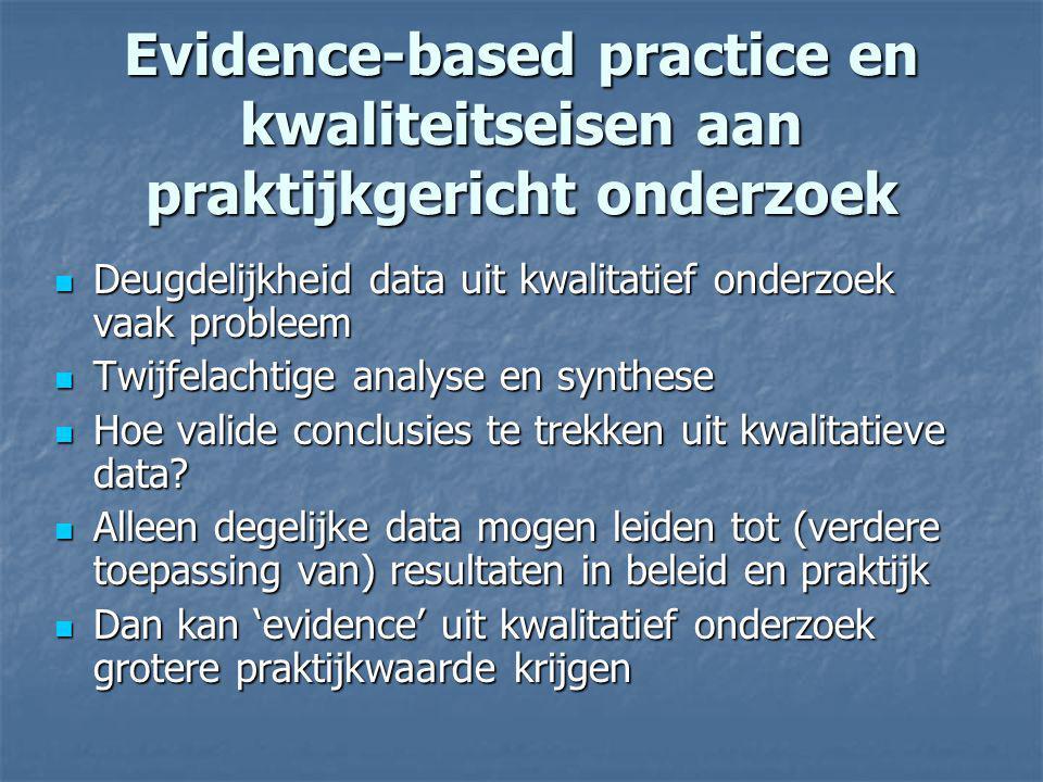Evidence-based practice en kwaliteitseisen aan praktijkgericht onderzoek Deugdelijkheid data uit kwalitatief onderzoek vaak probleem Deugdelijkheid da