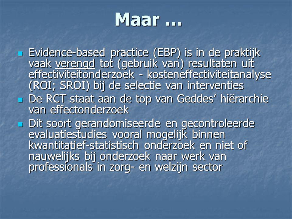 Maar … Evidence-based practice (EBP) is in de praktijk vaak verengd tot (gebruik van) resultaten uit effectiviteitonderzoek - kosteneffectiviteitanaly