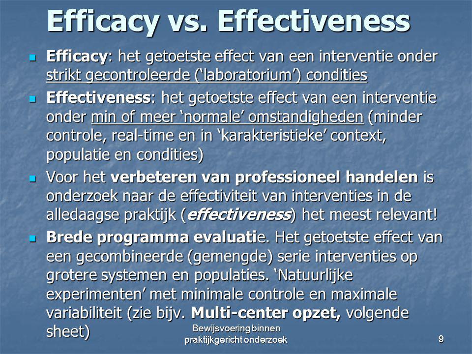 Efficacy vs. Effectiveness Efficacy: het getoetste effect van een interventie onder strikt gecontroleerde ('laboratorium') condities Efficacy: het get
