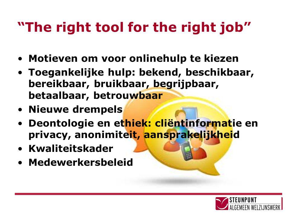 The right tool for the right job Motieven om voor onlinehulp te kiezen Toegankelijke hulp: bekend, beschikbaar, bereikbaar, bruikbaar, begrijpbaar, betaalbaar, betrouwbaar Nieuwe drempels Deontologie en ethiek: cliëntinformatie en privacy, anonimiteit, aansprakelijkheid Kwaliteitskader Medewerkersbeleid
