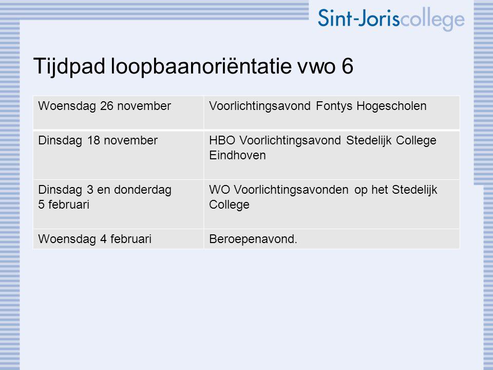 Tijdpad loopbaanoriëntatie vwo 6 Woensdag 26 novemberVoorlichtingsavond Fontys Hogescholen Dinsdag 18 novemberHBO Voorlichtingsavond Stedelijk College