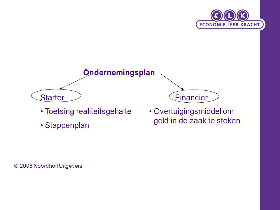 Ondernemingsplan StarterFinancier Toetsing realiteitsgehalte Stappenplan Overtuigingsmiddel om geld in de zaak te steken © 2008 Noordhoff Uitgevers