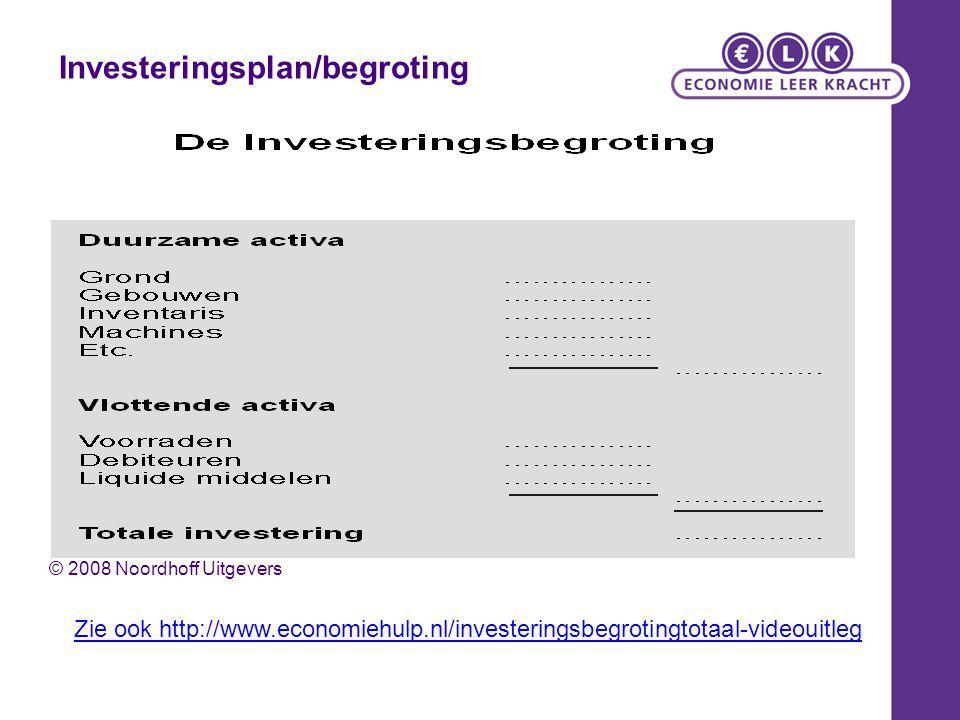 Financieringplan/begroting © 2008 Noordhoff Uitgevers Zie ook http://www.economiehulp.nl/financieringsbegotingtotaal-videouitleg