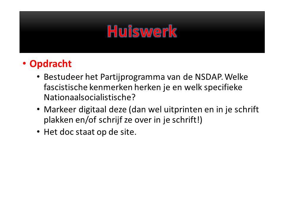 Opdracht Bestudeer het Partijprogramma van de NSDAP.