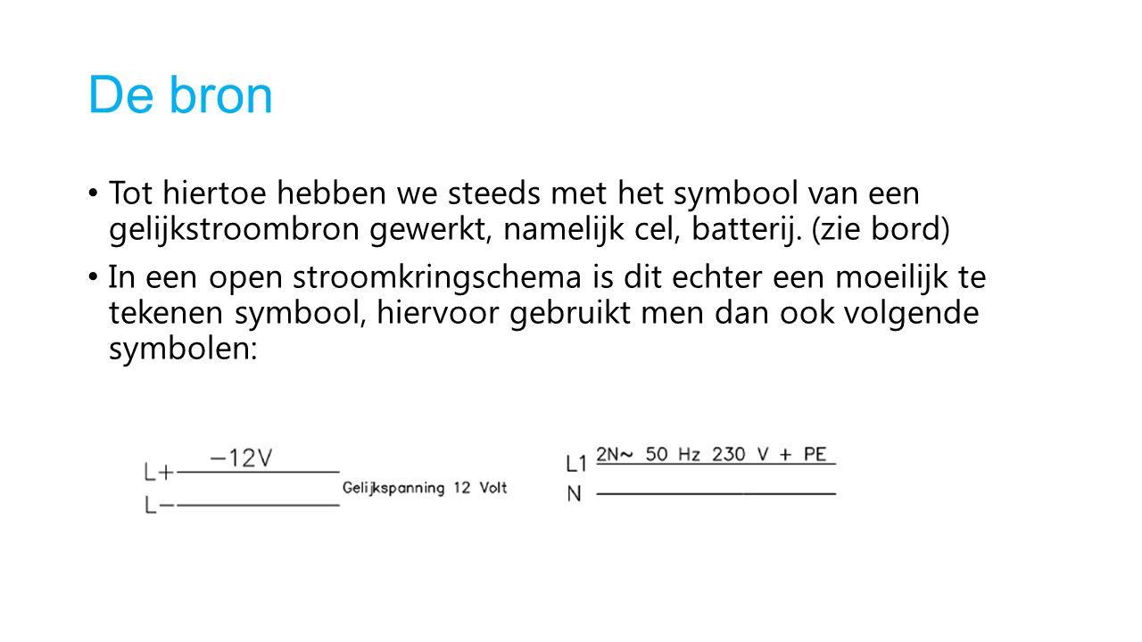 De bron Tot hiertoe hebben we steeds met het symbool van een gelijkstroombron gewerkt, namelijk cel, batterij. (zie bord) In een open stroomkringschem
