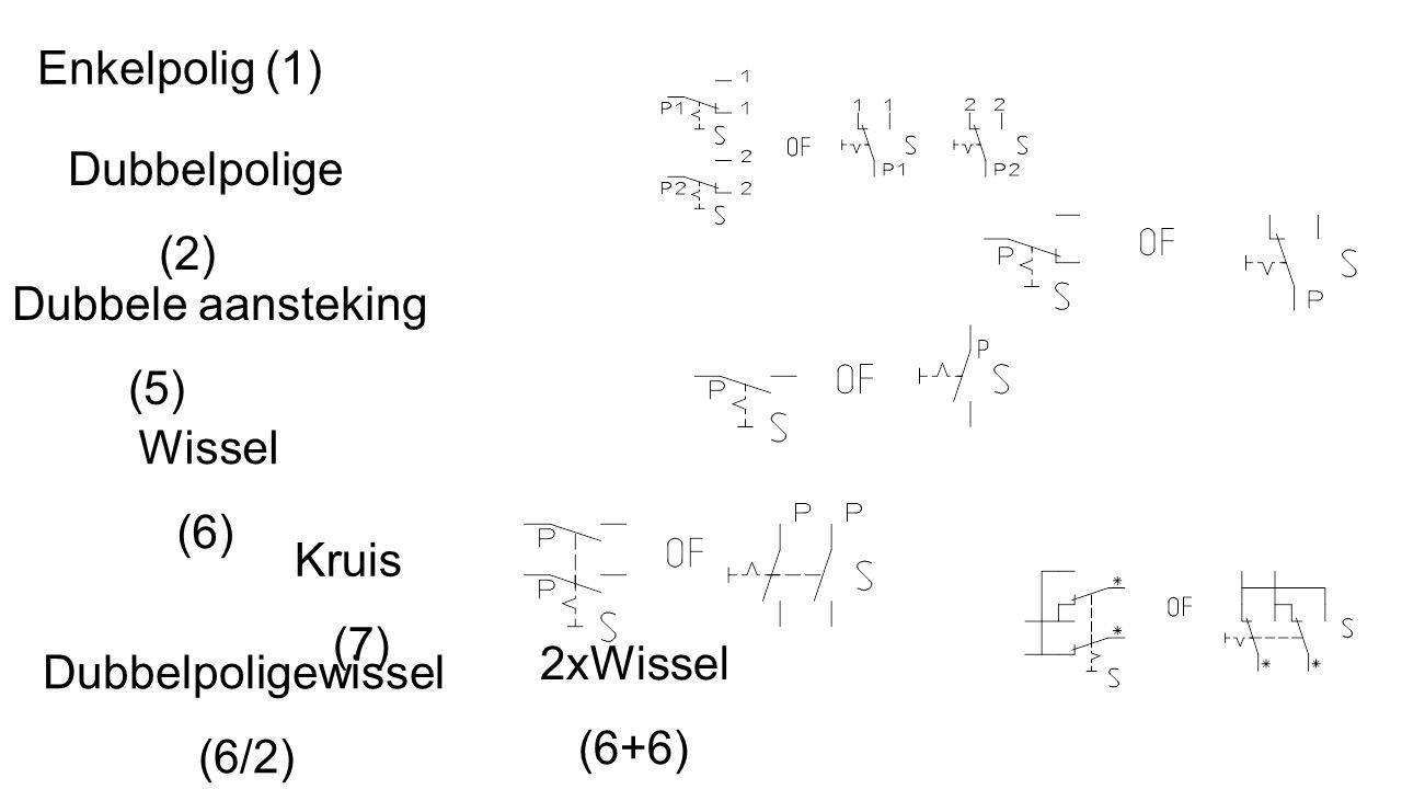 Enkelpolig (1) Dubbelpolige (2) Wissel (6) Kruis (7) 2xWissel (6+6) Dubbelpoligewissel (6/2) Dubbele aansteking (5)