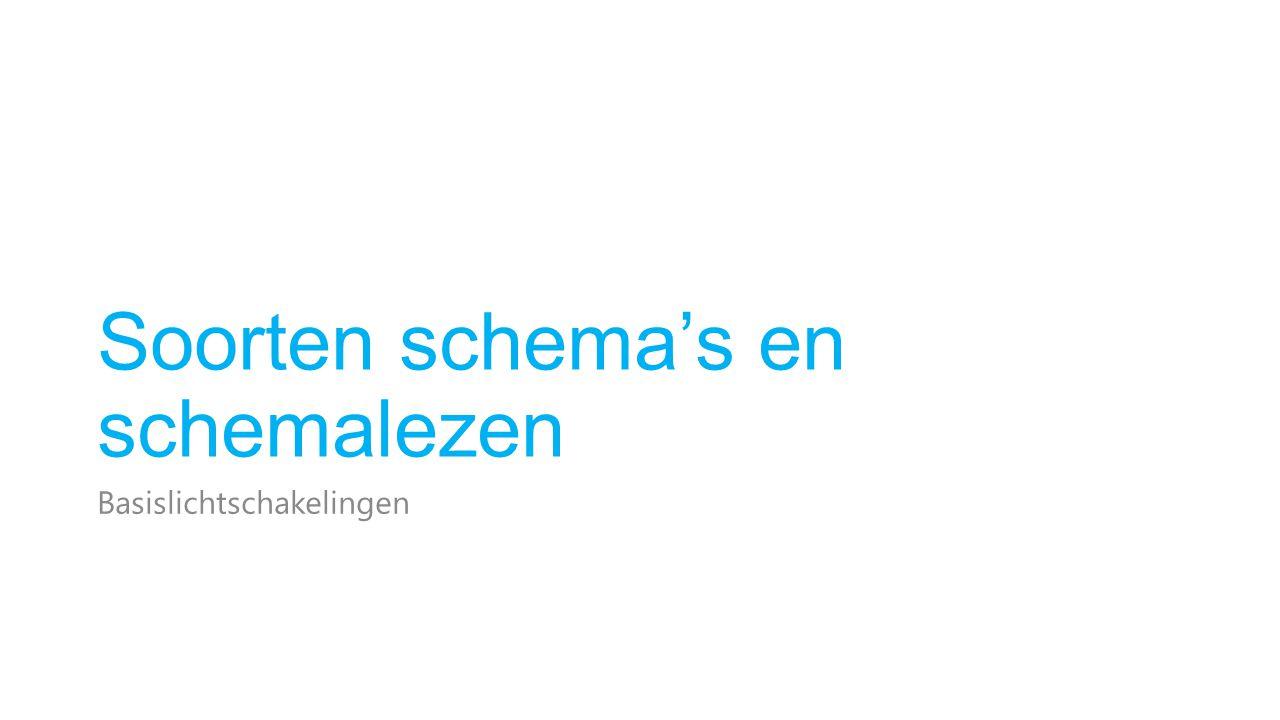 Soorten schema's Verklarende schema's Eendraadsschema Situatieschema Stroomkringschema Uitvoeringsschema's Leidingschema Bedradingsschema