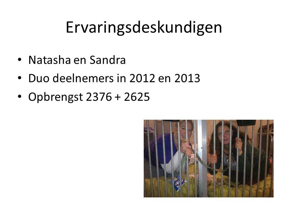 Ervaringsdeskundigen Natasha en Sandra Duo deelnemers in 2012 en 2013 Opbrengst 2376 + 2625