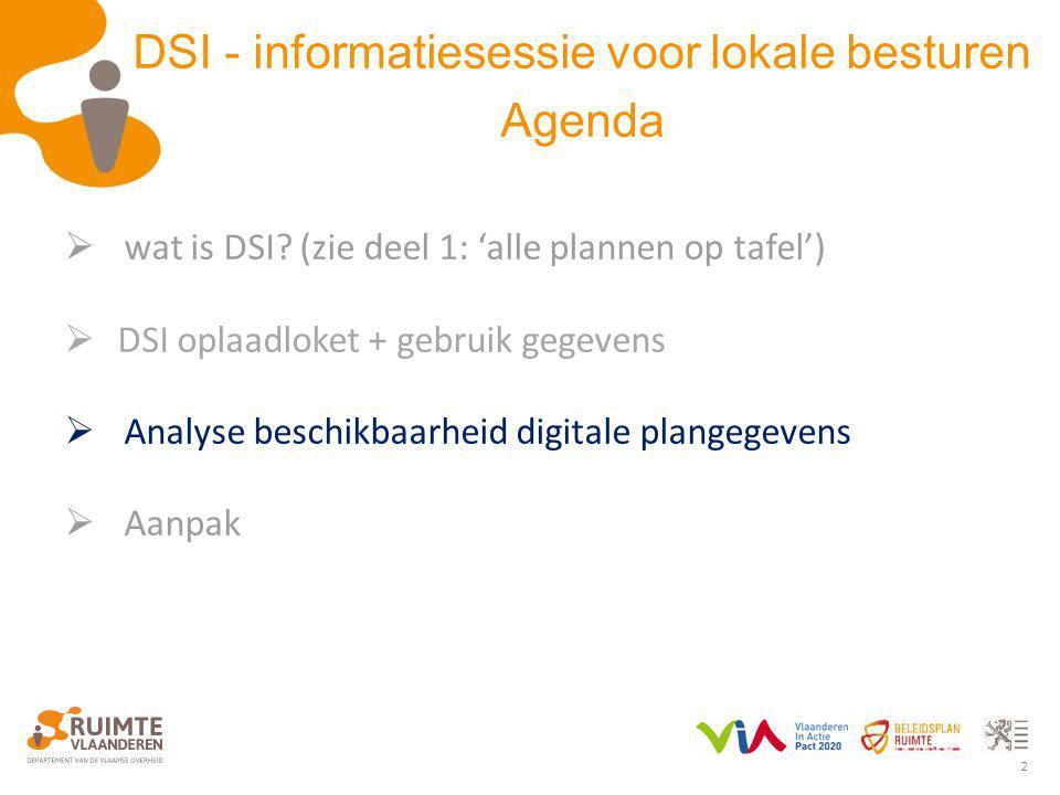 2  wat is DSI? (zie deel 1: 'alle plannen op tafel')  DSI oplaadloket + gebruik gegevens  Analyse beschikbaarheid digitale plangegevens  Aanpak DS