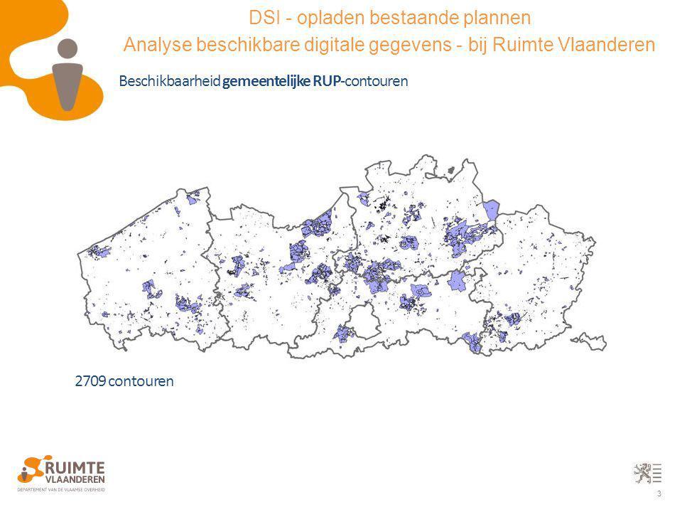 3 Beschikbaarheid gemeentelijke RUP-contouren 2709 contouren DSI - opladen bestaande plannen Analyse beschikbare digitale gegevens - bij Ruimte Vlaand