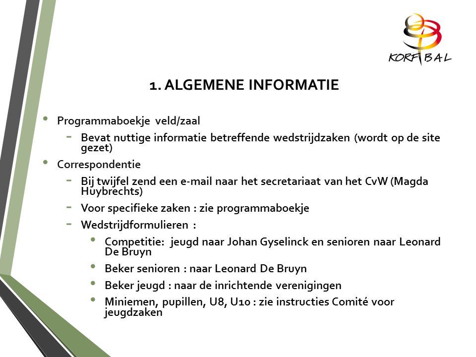 1. ALGEMENE INFORMATIE P rogrammaboekje veld/zaal -B-B evat nuttige informatie betreffende wedstrijdzaken (wordt op de site gezet) C orrespondentie -B