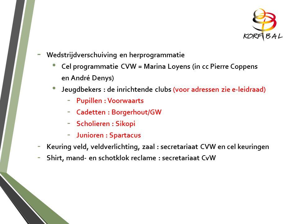 - Wedstrijdverschuiving en herprogrammatie Cel programmatie CVW = Marina Loyens (in cc Pierre Coppens en André Denys) Jeugdbekers : de inrichtende clubs (voor adressen zie e-leidraad) - Pupillen : Voorwaarts - Cadetten : Borgerhout/GW - Scholieren : Sikopi - Junioren : Spartacus - Keuring veld, veldverlichting, zaal : secretariaat CVW en cel keuringen - Shirt, mand- en schotklok reclame : secretariaat CvW