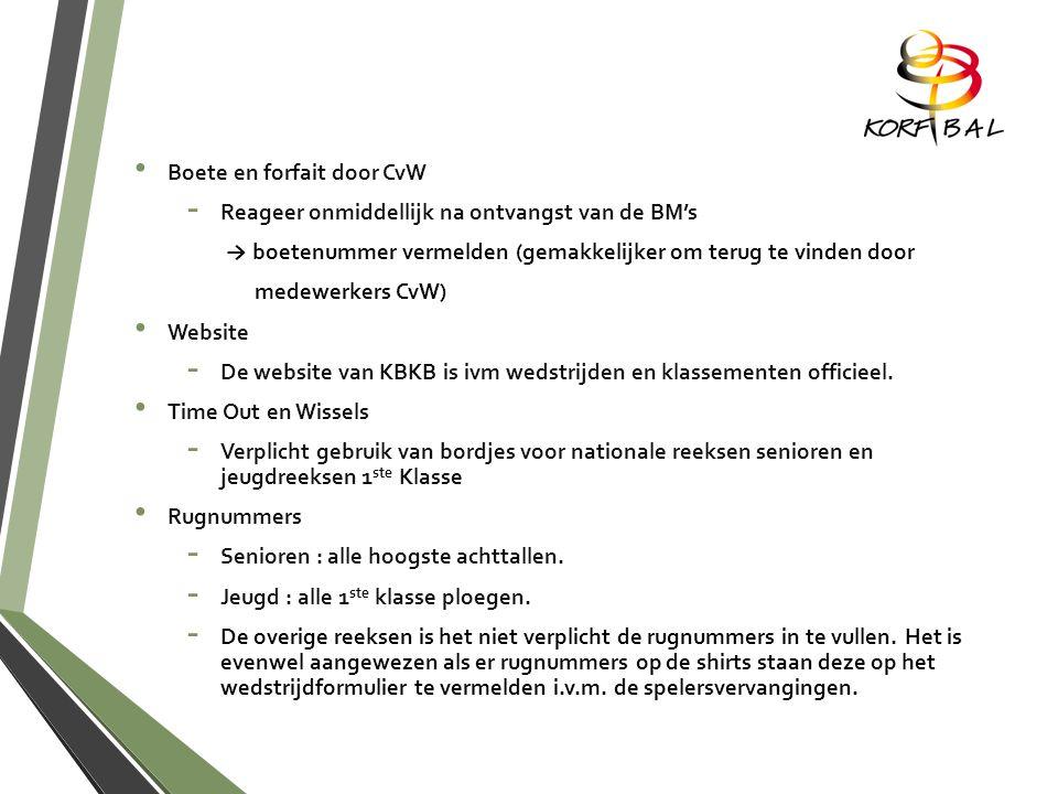 Boete en forfait door CvW -R-Reageer onmiddellijk na ontvangst van de BM's → boetenummer vermelden (gemakkelijker om terug te vinden door medewerkers CvW) Website -D-De website van KBKB is ivm wedstrijden en klassementen officieel.