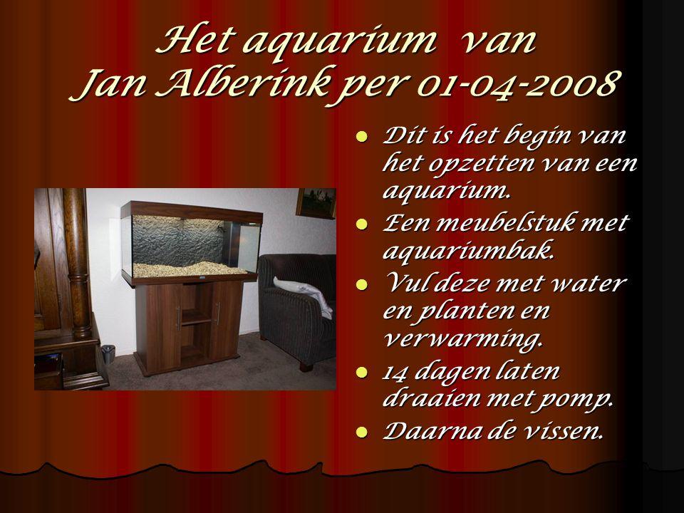 Het aquarium is gevuld met water, planten, voedings- bodem en grind.