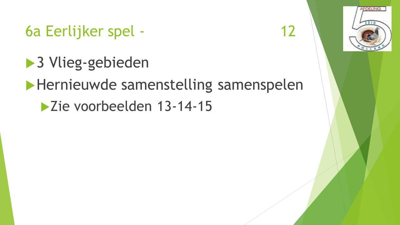 6a Eerlijker spel - 12  3 Vlieg-gebieden  Hernieuwde samenstelling samenspelen  Zie voorbeelden 13-14-15