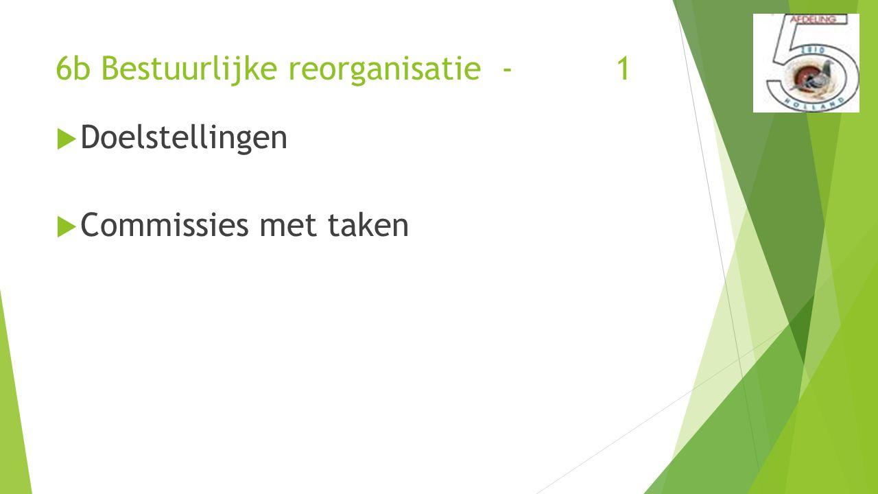 6b Bestuurlijke reorganisatie - 1  Doelstellingen  Commissies met taken