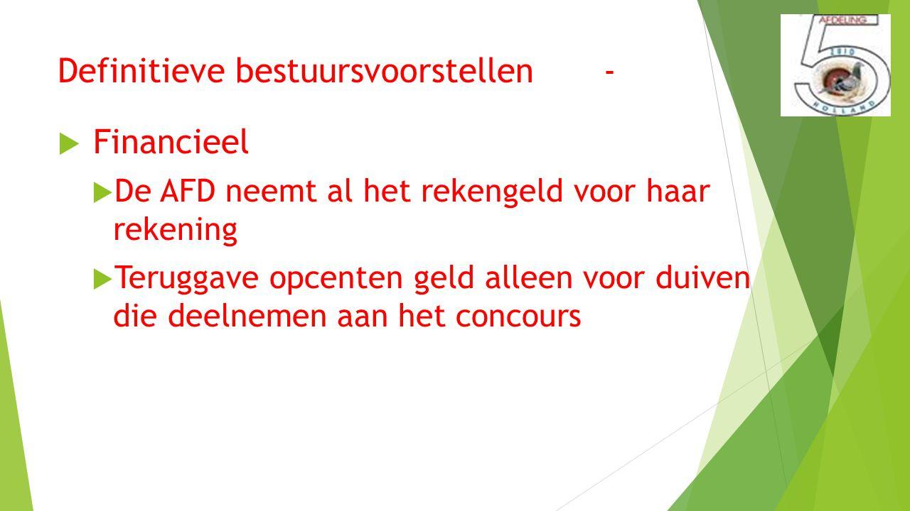 Definitieve bestuursvoorstellen -  Financieel  De AFD neemt al het rekengeld voor haar rekening  Teruggave opcenten geld alleen voor duiven die deelnemen aan het concours