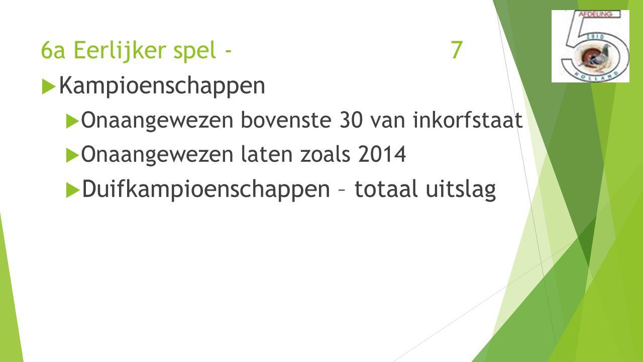 6a Eerlijker spel - 7  Kampioenschappen  Onaangewezen bovenste 30 van inkorfstaat  Onaangewezen laten zoals 2014  Duifkampioenschappen – totaal uitslag