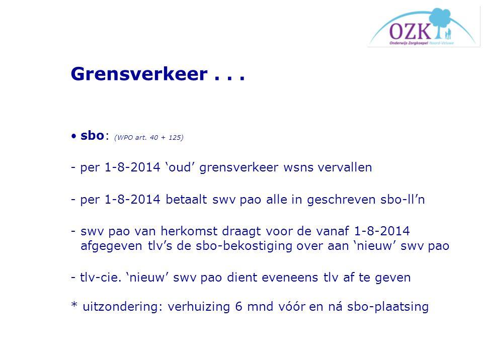 Grensverkeer... sbo: (WPO art. 40 + 125) - per 1-8-2014 'oud' grensverkeer wsns vervallen - per 1-8-2014 betaalt swv pao alle in geschreven sbo-ll'n -