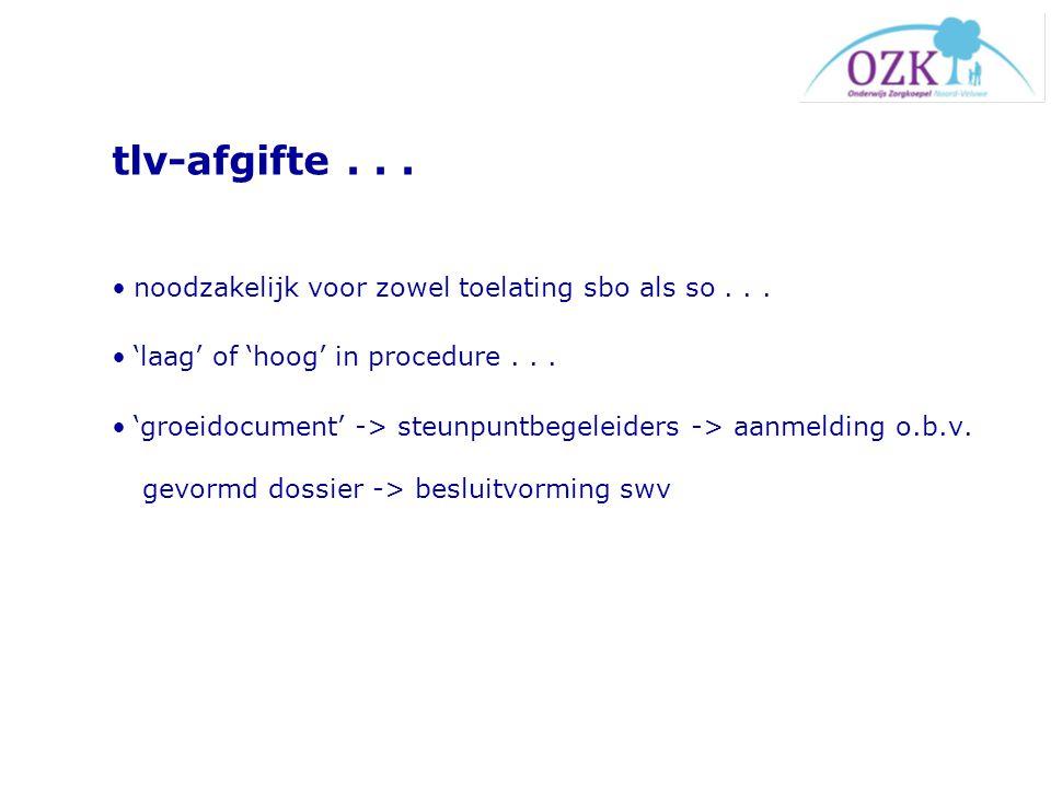 tlv-afgifte... noodzakelijk voor zowel toelating sbo als so... 'laag' of 'hoog' in procedure... 'groeidocument' -> steunpuntbegeleiders -> aanmelding