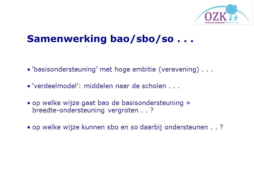 Samenwerking bao/sbo/so... 'basisondersteuning' met hoge ambitie (verevening)... 'verdeelmodel': middelen naar de scholen... op welke wijze gaat bao d