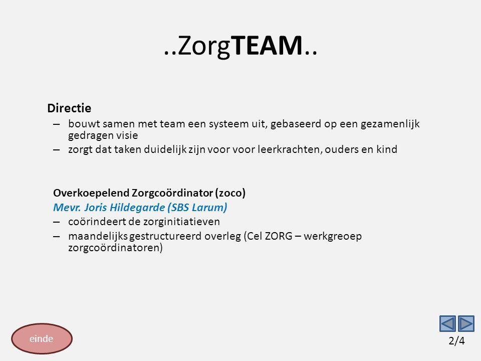 ..ZorgTEAM.. Directie – bouwt samen met team een systeem uit, gebaseerd op een gezamenlijk gedragen visie – zorgt dat taken duidelijk zijn voor voor l
