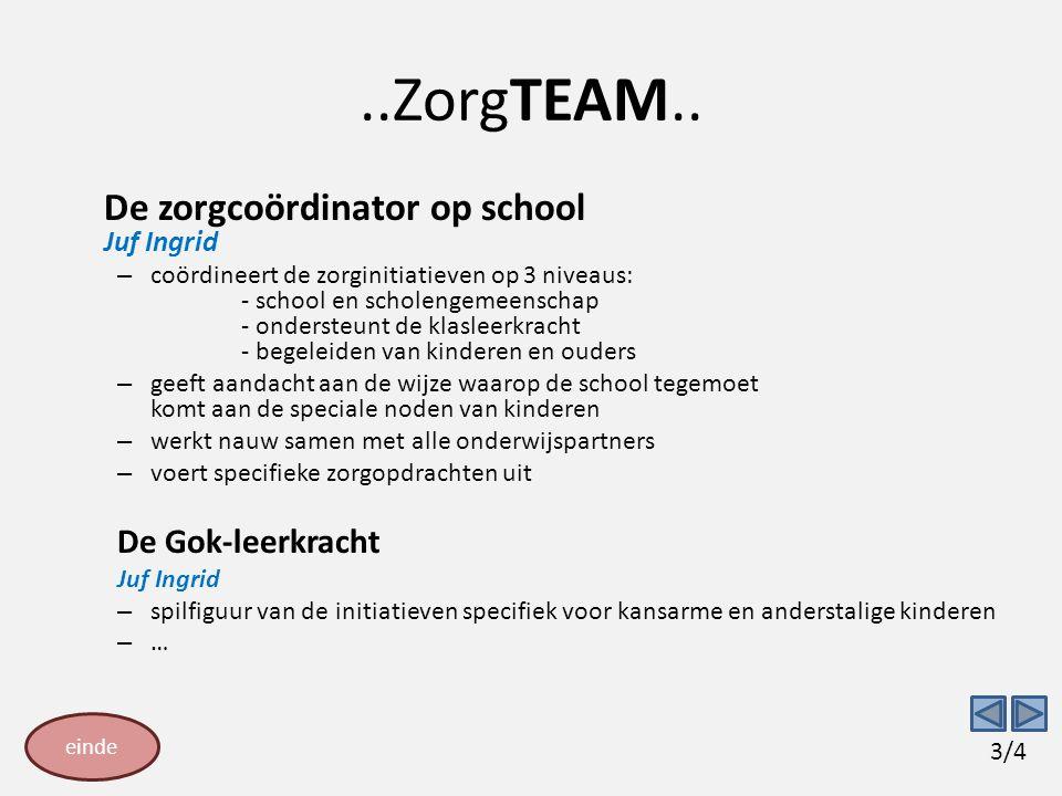 ..ZorgTEAM.. De zorgcoördinator op school Juf Ingrid – coördineert de zorginitiatieven op 3 niveaus: - school en scholengemeenschap - ondersteunt de k