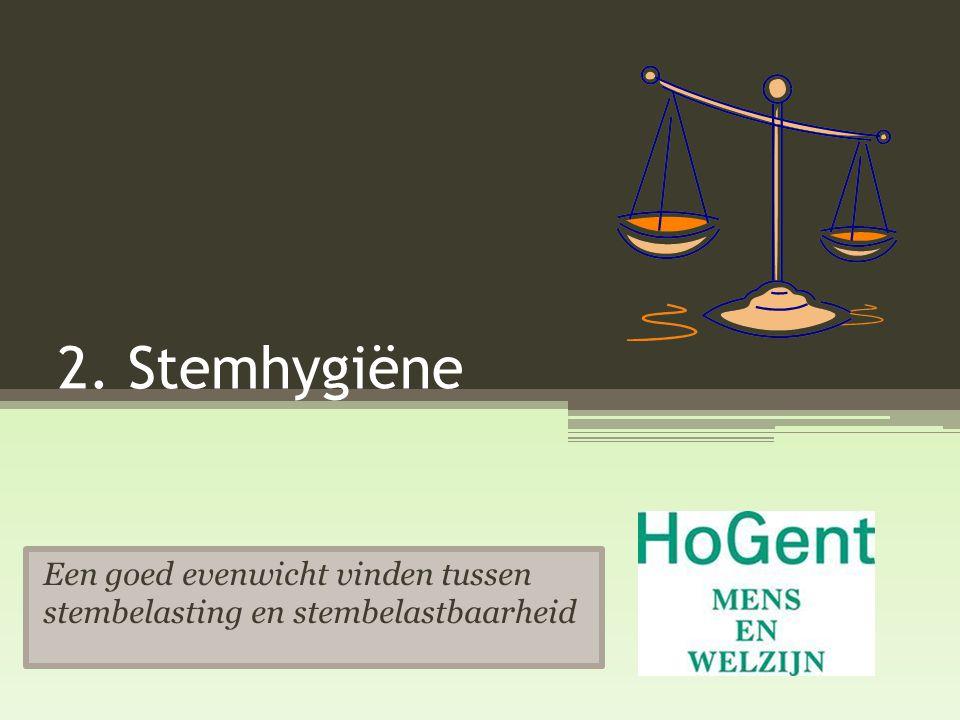2. Stemhygiëne Een goed evenwicht vinden tussen stembelasting en stembelastbaarheid
