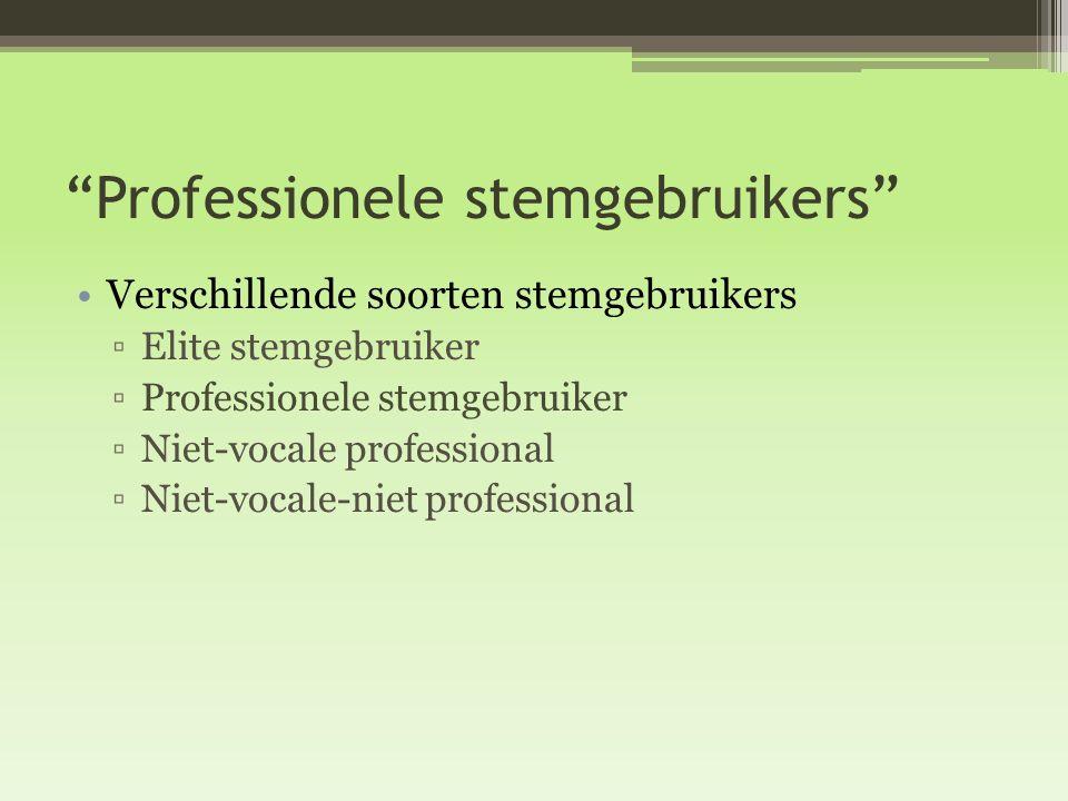 """""""Professionele stemgebruikers"""" Verschillende soorten stemgebruikers ▫Elite stemgebruiker ▫Professionele stemgebruiker ▫Niet-vocale professional ▫Niet-"""