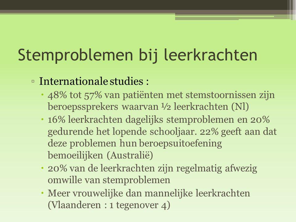 Stemproblemen bij leerkrachten ▫Internationale studies :  48% tot 57% van patiënten met stemstoornissen zijn beroepssprekers waarvan ½ leerkrachten (