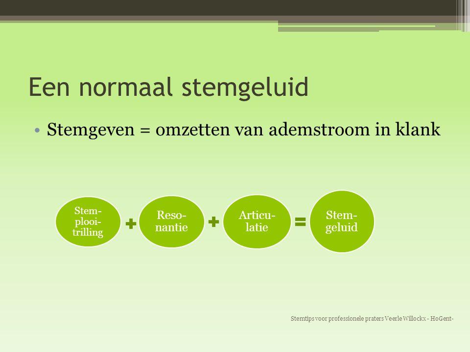 Een normaal stemgeluid Stemgeven = omzetten van ademstroom in klank Stemtips voor professionele praters Veerle Willockx - HoGent- Stem- plooi- trillin