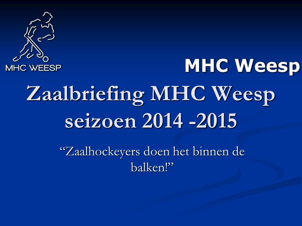 """Zaalbriefing MHC Weesp seizoen 2014 -2015 """"Zaalhockeyers doen het binnen de balken!"""""""