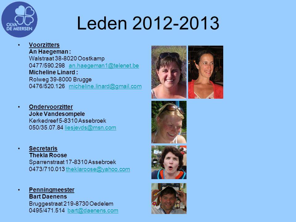 Leden 2012-2013 Voorzitters An Haegeman : Walstraat 38-8020 Oostkamp 0477/590.298 an.haegeman1@telenet.bean.haegeman1@telenet.be Micheline Linard : Ro