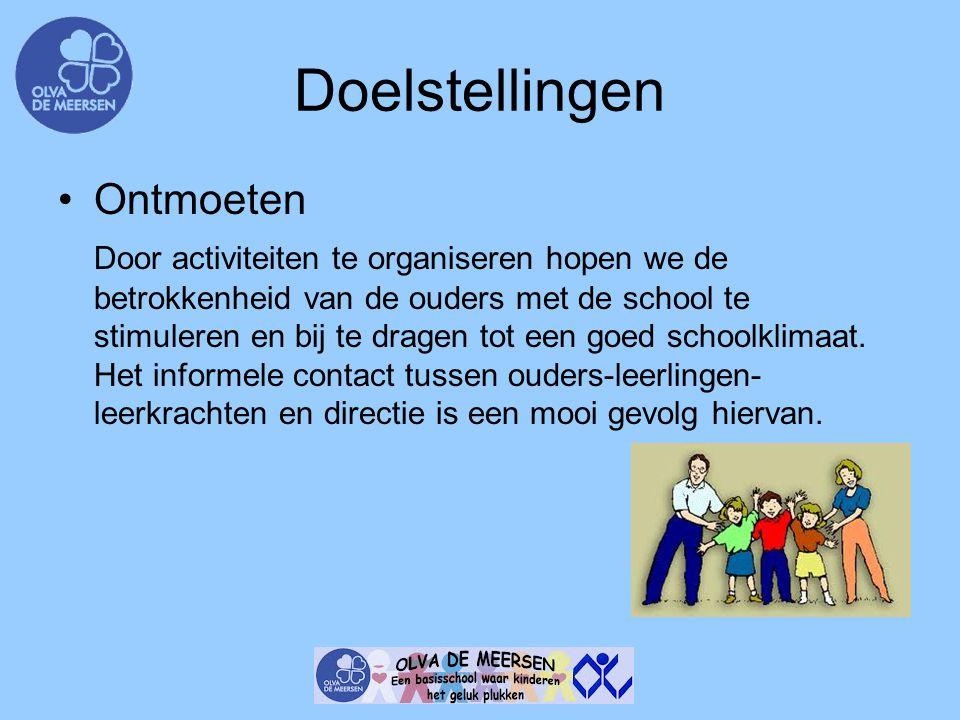 Doelstellingen Ontmoeten Door activiteiten te organiseren hopen we de betrokkenheid van de ouders met de school te stimuleren en bij te dragen tot een