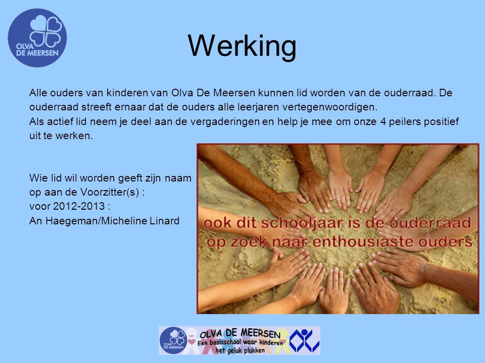Werking Alle ouders van kinderen van Olva De Meersen kunnen lid worden van de ouderraad. De ouderraad streeft ernaar dat de ouders alle leerjaren vert