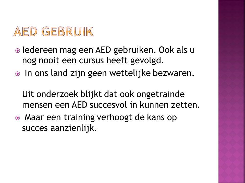  Iedereen mag een AED gebruiken. Ook als u nog nooit een cursus heeft gevolgd.  In ons land zijn geen wettelijke bezwaren. Uit onderzoek blijkt dat