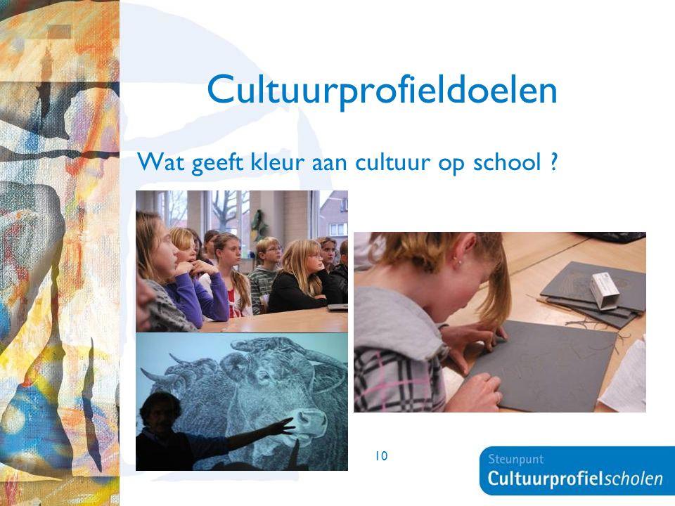 10 Cultuurprofieldoelen Wat geeft kleur aan cultuur op school ?