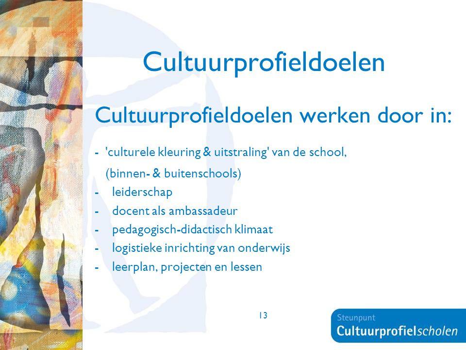 13 Cultuurprofieldoelen Cultuurprofieldoelen werken door in: - 'culturele kleuring & uitstraling' van de school, (binnen- & buitenschools) -leiderscha