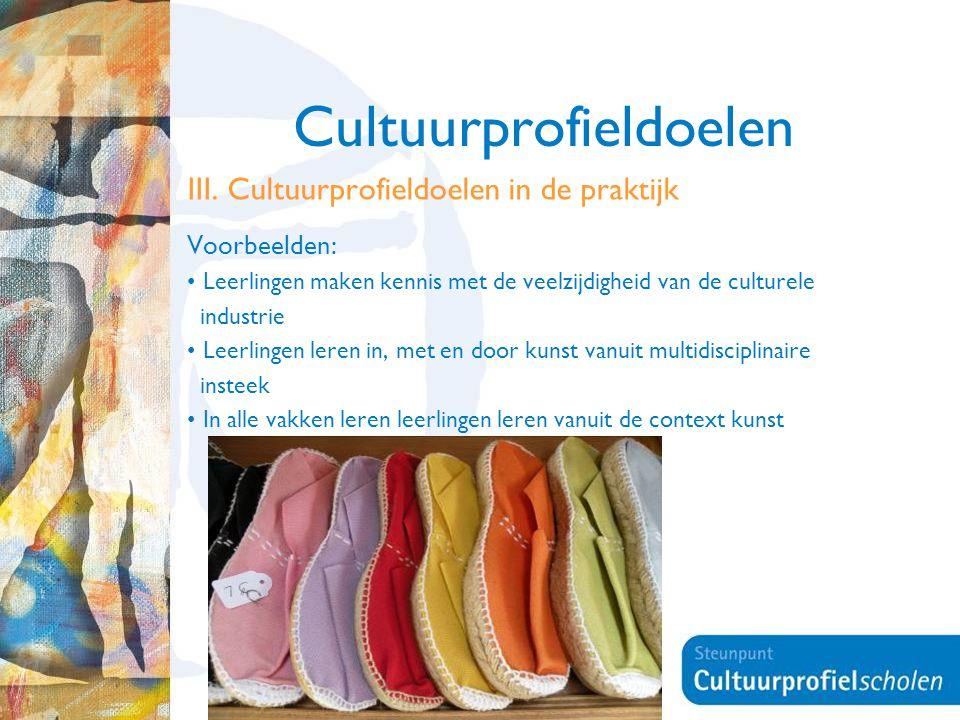 14 Cultuurprofieldoelen III. Cultuurprofieldoelen in de praktijk Voorbeelden: Leerlingen maken kennis met de veelzijdigheid van de culturele industrie