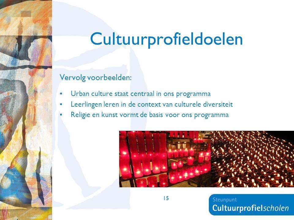 15 Cultuurprofieldoelen Vervolg voorbeelden: Urban culture staat centraal in ons programma Leerlingen leren in de context van culturele diversiteit Re