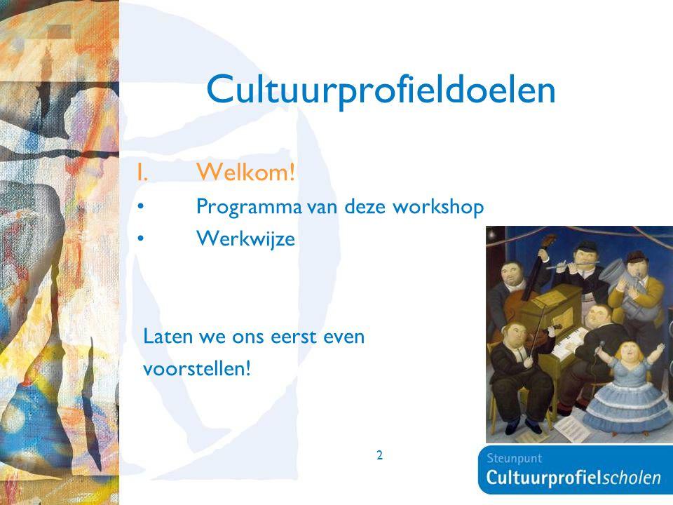 2 Cultuurprofieldoelen I.Welkom! Programma van deze workshop Werkwijze Laten we ons eerst even voorstellen!