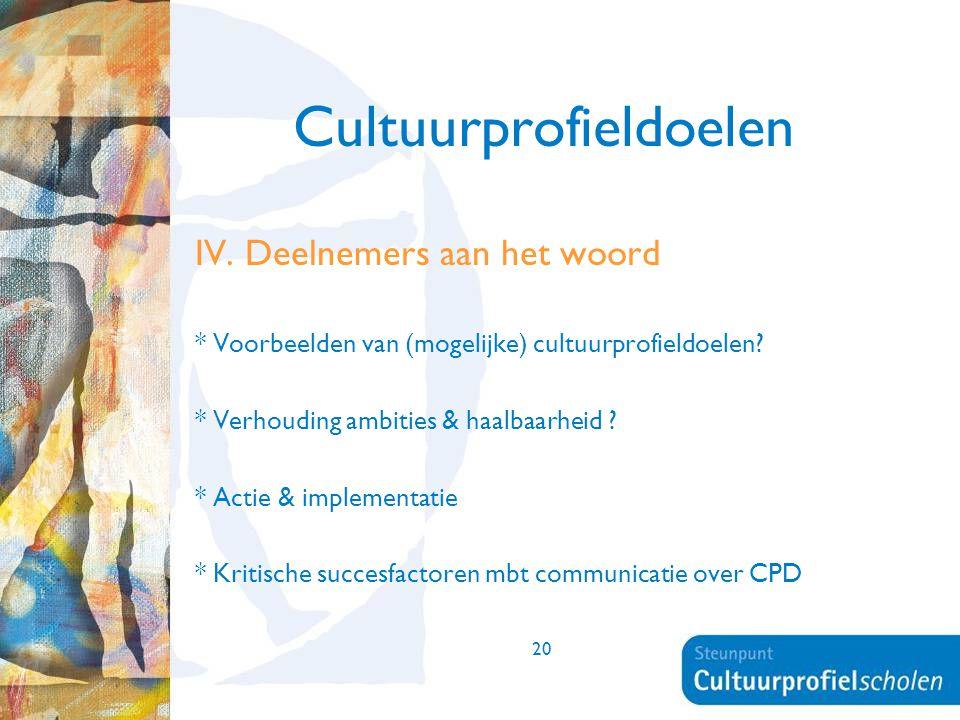20 Cultuurprofieldoelen IV. Deelnemers aan het woord * Voorbeelden van (mogelijke) cultuurprofieldoelen? * Verhouding ambities & haalbaarheid ? * Acti