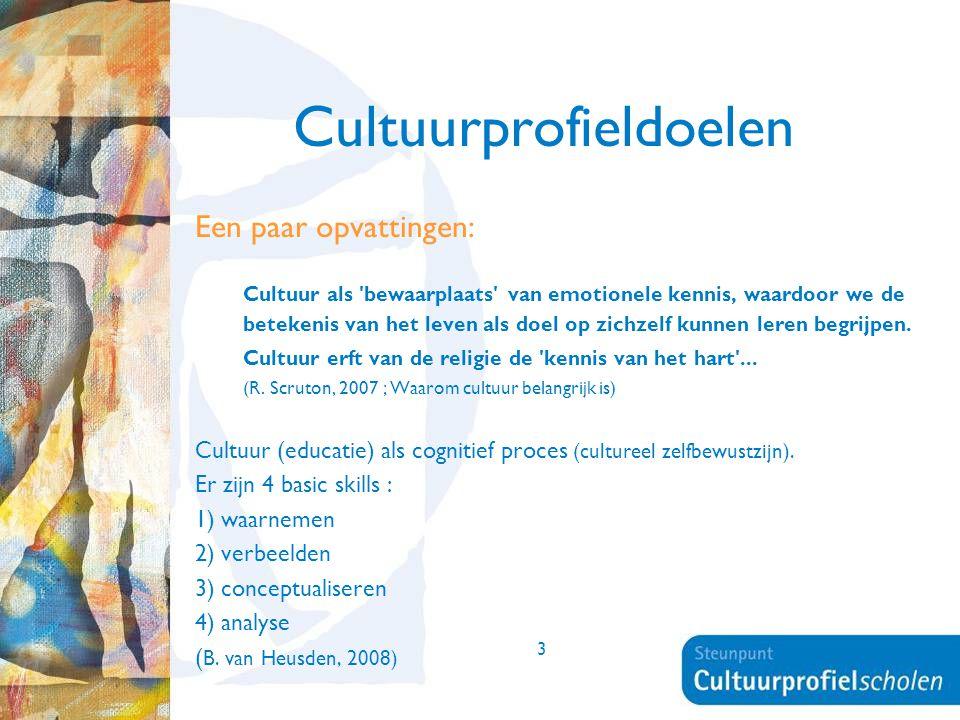 3 Cultuurprofieldoelen Een paar opvattingen: Cultuur als 'bewaarplaats' van emotionele kennis, waardoor we de betekenis van het leven als doel op zich