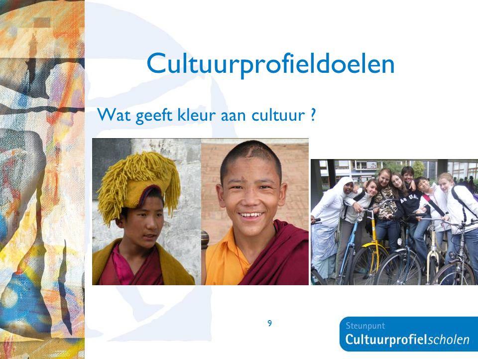 9 Cultuurprofieldoelen Wat geeft kleur aan cultuur ?