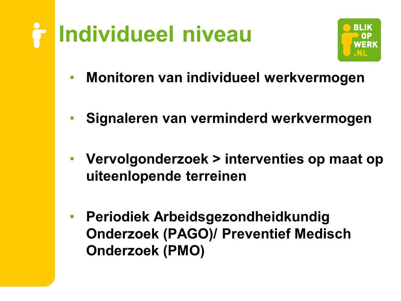 Individueel niveau Monitoren van individueel werkvermogen Signaleren van verminderd werkvermogen Vervolgonderzoek > interventies op maat op uiteenlope