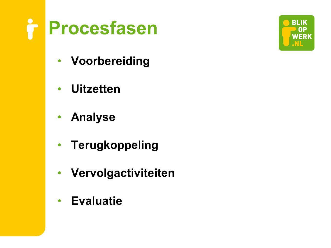 Procesfasen Voorbereiding Uitzetten Analyse Terugkoppeling Vervolgactiviteiten Evaluatie